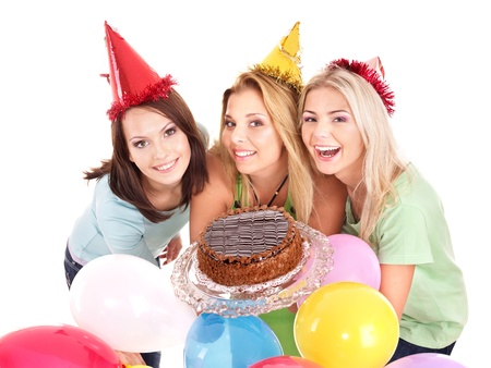 Group people in party hat giving cake. Isolated. photo
