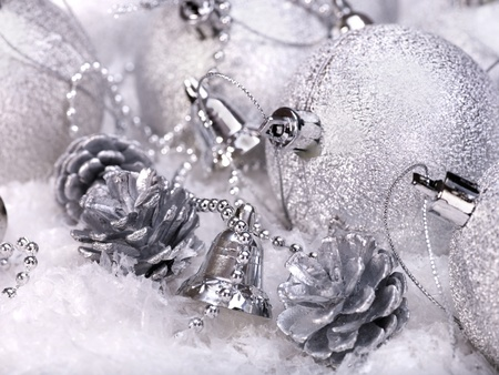 Group of christmas ball in snow. photo