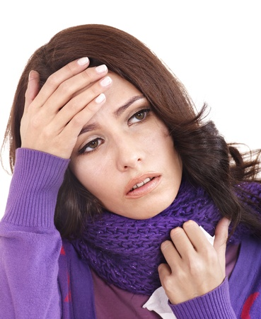 sniffle: Young woman with handkerchief having  cold. Isolated.