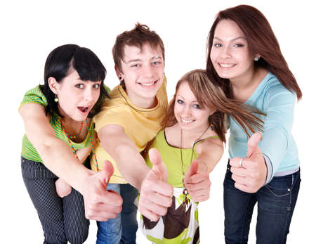 Group people of teenager. Isolated. Stock Photo - 9491278