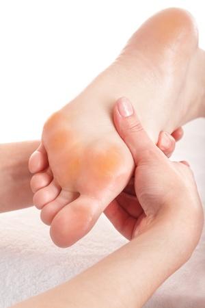 Massage of female leg. Health and beauty. photo