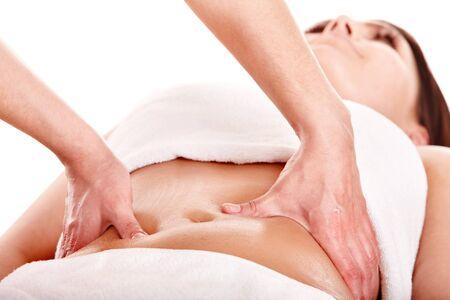 vientre femenino: Beautiful girl tener est�mago masaje. Cuidado del cuerpo.