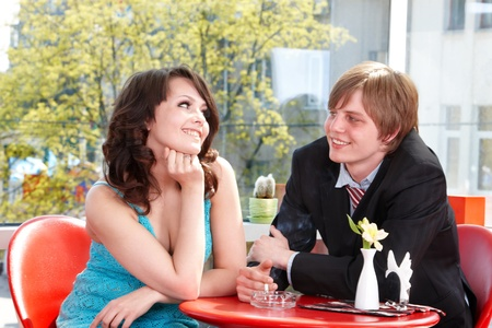 Couple on date in restaurant. Happy dating. photo