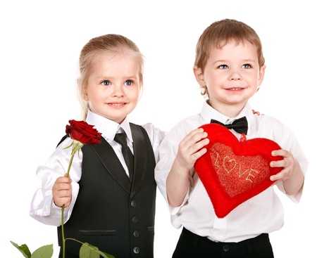 Children in business suit with rose.Valentines day. Stock Photo - 8781287