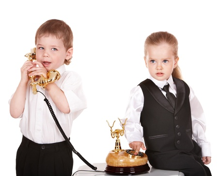 Children in business suit with telephone. Isolated. Stock Photo - 8781134