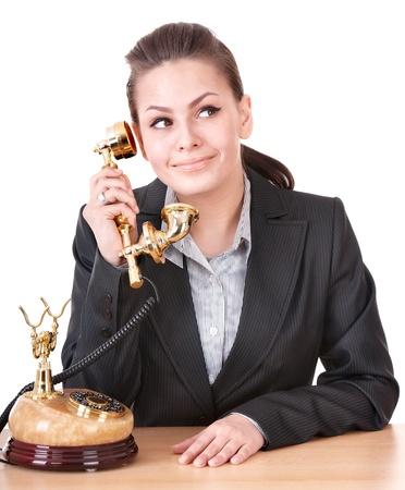 Happy businesswoman speaking phone. Isolated. Stock Photo - 8781405