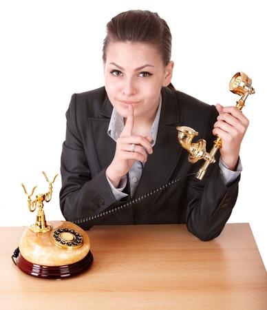 shushing: Businesswoman making silence gesture. Girl shushing.