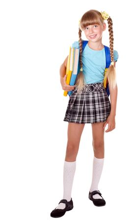 Girl School: School girl with backpack holding books. Isolated.