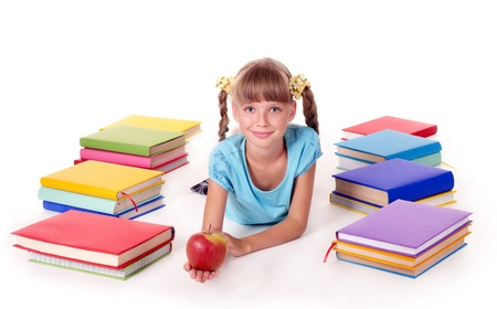 Child with pile of books  reading on floor. Isolated. Stock Photo - 8781427