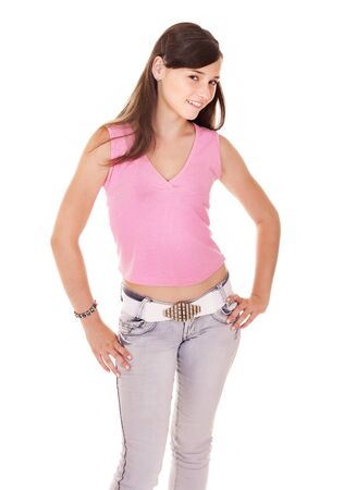 jeans girl: Teenager girl in jeans.  Isolated.. Stock Photo