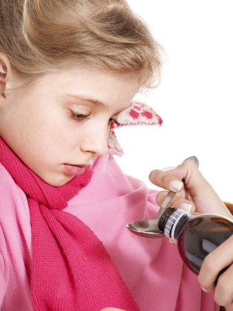 sniffle: Sick child take  medicine with doctor. Isolated.
