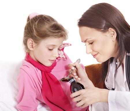 Sick child take  medicine with doctor. Isolated. Stock Photo - 8781825