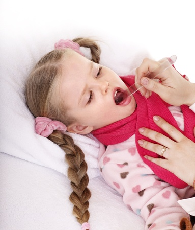 tonsillitis: Doctor examining child with sore throat. Isolated.