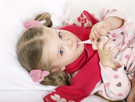 tonsillitis: Sick child in bed recovers. Isolated on white.