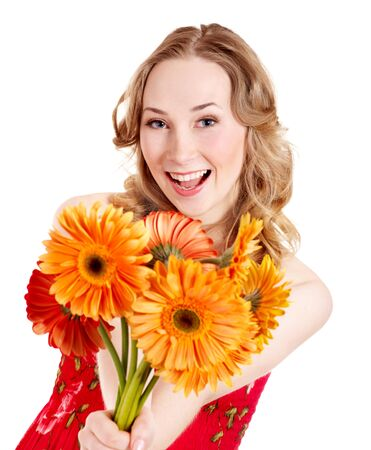 Happy young woman giving bunch of flowers. photo