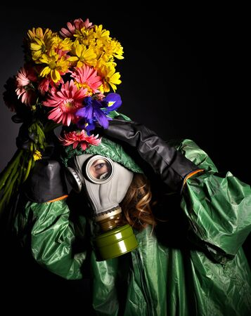 Young woman  in gas mask .Toxic Environment Stock Photo - 8941887