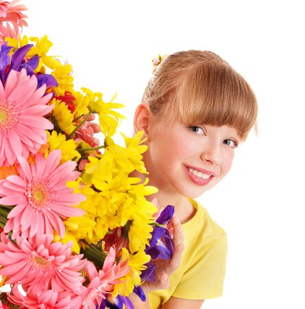 Happy little girl holding bunch of flowers. Stock Photo - 8942157