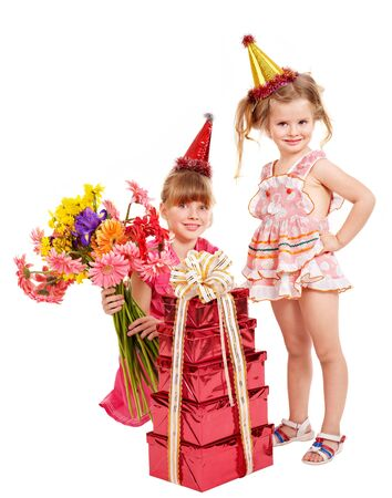 Little girl in party hat with stack gift box. Isolated. Stock Photo - 8941928