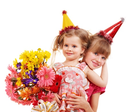 Little girl in party hat with stack gift box. Isolated. Stock Photo - 8942316