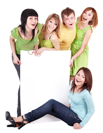 pretty people: Group of people take banner.Isolated. Stock Photo
