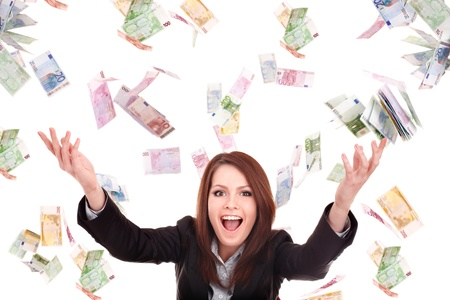 lady fly: Young woman with flying money. Isolated. Stock Photo