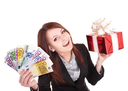 Young woman holding euro money, and gift box,. . Isolated. photo