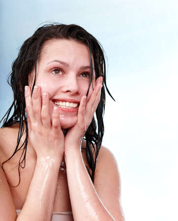 damping: Beautiful girl with wet hair. Isolated.