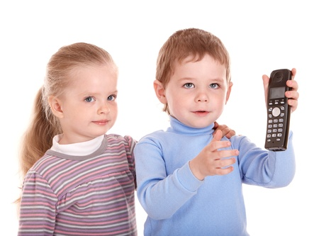 Boy in blue speak on phone. Isolated. photo