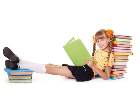 Little girl  reading  pile of books. Isolated. Stock Photo - 9093797