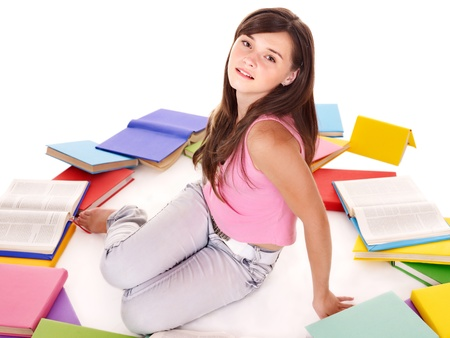 tenager: Tenager girl with group book. Isolated. Stock Photo