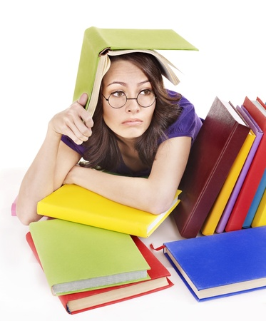 Girl with stack color book . Isolated. photo