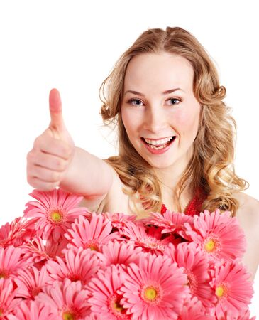 Happy young woman with thumb up. photo