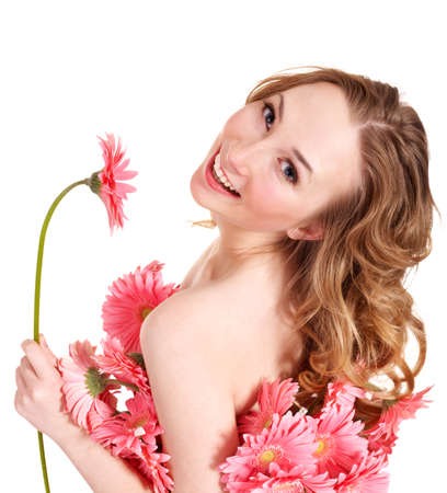 scincare: Beautiful  young woman holding  flower. Isolated.