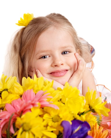 Happy little girl holding bunch of flowers. Stock Photo - 9094050