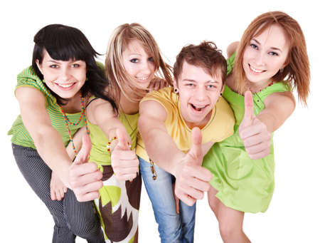 green thumb: Group people of teenager. Isolated. Stock Photo