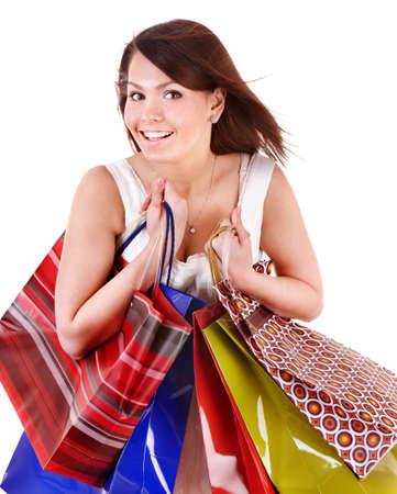 Girl holding group shopping bag. Isolated photo