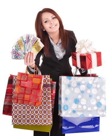 money euro: Woman holding money, gift box and shopping bag. Isolated.
