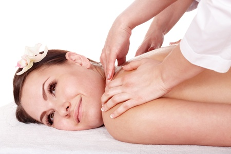 čtyři lidé: Beautiful young woman white girl having  massage.