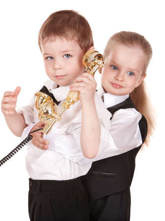 Children in business suit with telephone. Isolated. Stock Photo - 9268118