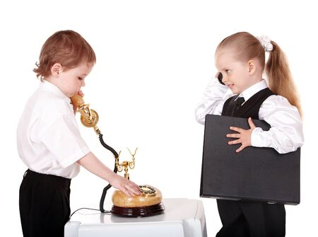 Children in business suit with telephone. Isolated. Stock Photo - 9268040