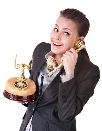 Happy businesswoman speaking phone. Isolated. Stock Photo - 9268216