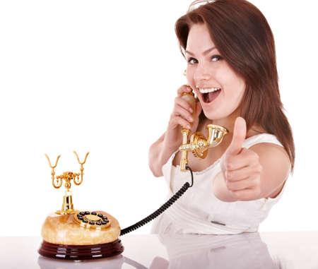 Young beautiful woman talking by phone. Stock Photo - 9268100