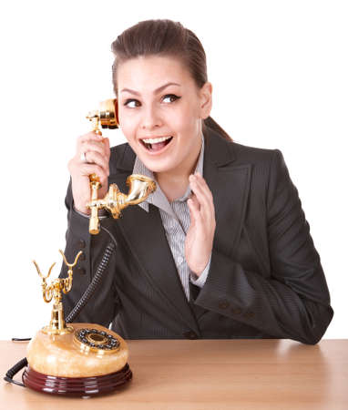 Happy businesswoman speaking phone. Isolated. Stock Photo - 9268175
