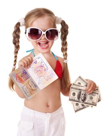 Little girl holding international passport. Foreign vacation. Stock Photo - 9268246