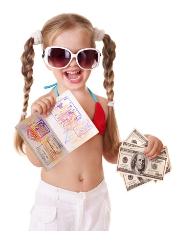 Little girl holding international passport. Foreign vacation. Stock Photo - 9268246