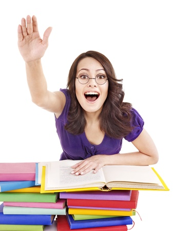 Girl in glasses with stack book . Isolated. photo