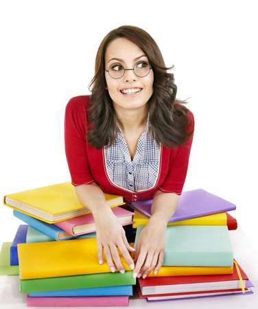 Girl in glasses with stack book . Isolated. Stock Photo - 9284247