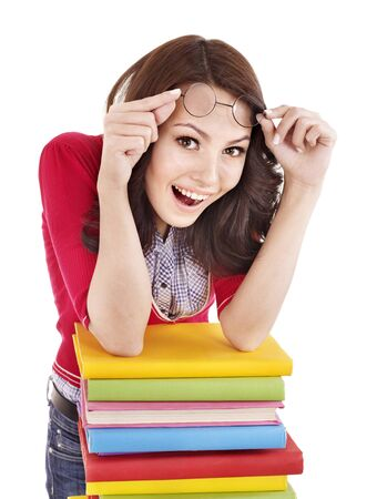 Girl in glasses with pile book . Isolated. photo