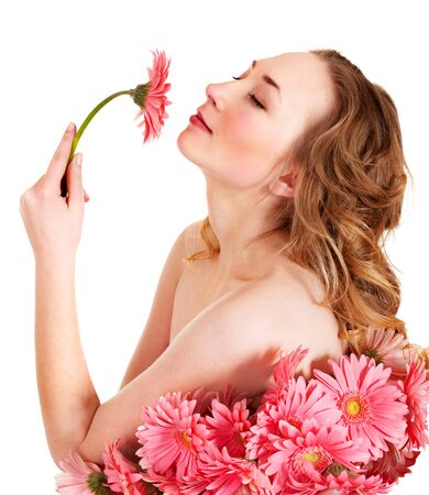Beautiful  young woman holding  flower. photo
