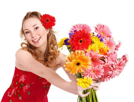 Happy young woman giving red flowers. photo